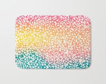 Bathmat, memory foam, hearts, hand-drawn, love, summertime, by RDelean Designs