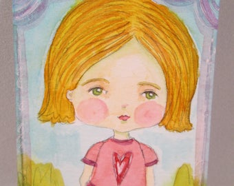ACEO Original Watercolor Girl Orange Yellow Hair Heart Valentine's Day OOAK Gift Ceville Designs