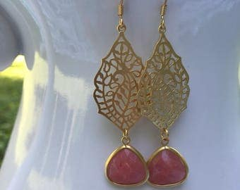 Coral & Gold Athena Dangles