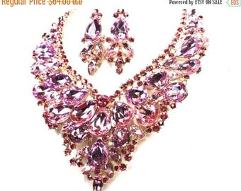SALE SALE Pink Bridal Statement Necklace, Pink Crystal Wedding Necklace, Pink Crystal Evening Necklace ~ EC 56