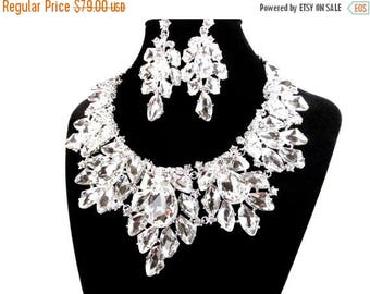 SALE SALE Crystal Bridal Statement Necklace, Crystal Wedding Necklace, Crystal Evening Necklace ~ E 140