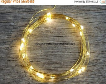 CLEARANCE limited supply GOLD wire LED Battery Operated Fairy Lights, Rustic Wedding Decor, Room Decor, 6.6 ft Gold Wire Warm White