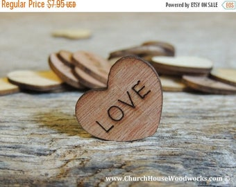 """Summer SALE 100 Love 1"""" Wood Hearts, Wood Confetti Engraved Love Hearts- Rustic Wedding Decor- Table Decorations- Small Wooden Hearts"""