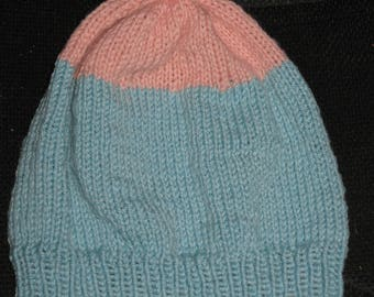 Knit wool slouchy beanie - pink and blue - merino wool and cashmere