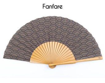 HAND FAN | Art Deco style print | metallic gold ribs | unique gift | gift for mom | fashion accessories | Free Shipping Worldwide