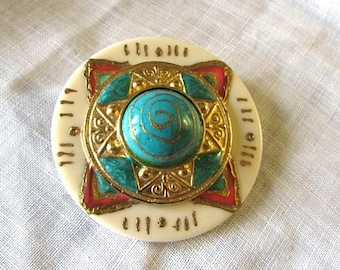 Summer Sale Ethnic Medallion Brooch, Pin, Faux Turquoise, Gold Tone and Coral Accents, Vintage Item, Boho, Accessory