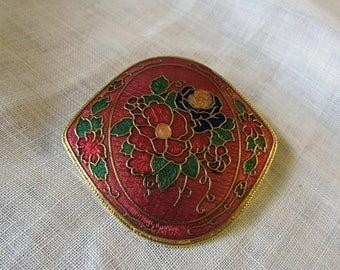 Summer Sale Floral Cloissone Brooch, Pin, Vintage Item, Flowers, Purple, Pink, Burgundy, Green, Yellow, Gold Tone Metal