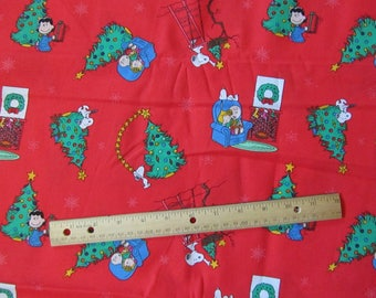 Red Peanuts Gang Christmas Morning Cotton Fabric by the Half Yard