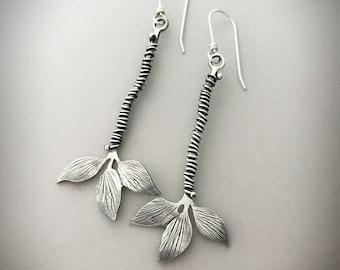 Silver Leaf Earrings, Sterling Drop Earrings, Nature Inspired Jewelry, Individually Handmade By Silversmith, Modern Dangle Earrings.