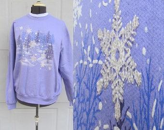 Vintage ugly Christmas sweatshirt, light purple with snowy nature scene, XL
