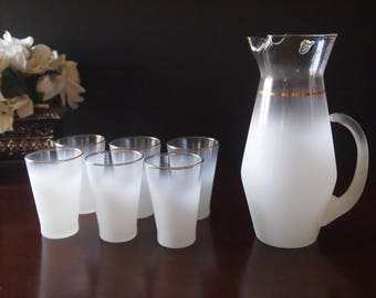 West Virginia Glass Co Pitcher and Six Glasses