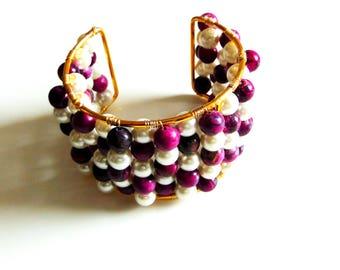 Purple Jasper and White Pearl Cuff Bracelet