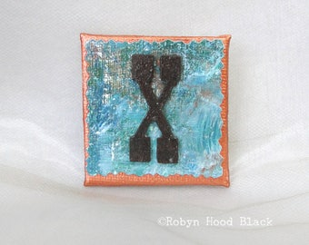 Rustic Letter X and Painted Verdigris Magnet 2 X 2