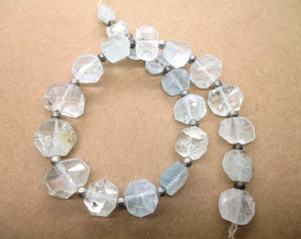 Aquamarine Faceted 22 Pc Flat faceted beads  hand polished -1A