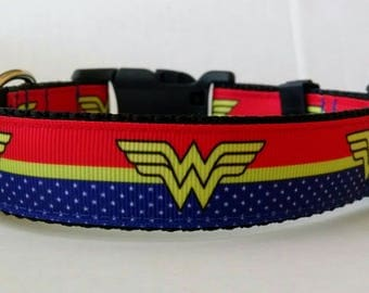 Wonder Woman Dog Collar - Adjustable Dog Collar - Superhero Dog Collar