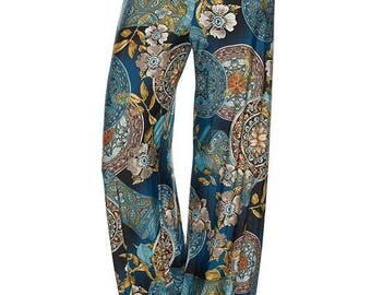 Floral Palazzo Pants, Floral Printed High Waist Palazzo Pants with unfinished hem.