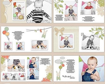 "ON SALE 10x10 Whcc Photobook- Album Photoshop Templates ""Birthday Red Balloon"" , INSTANT Download"