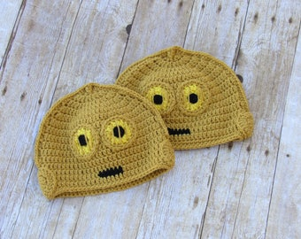 Crochet infant hat - Crochet Star Wars hat - C3PO droid baby hat costume - Cosplay Wig / Ready to ship Crochet toddler C3po hat