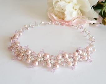 Pink Bridal Pearls Crown,Blush Pink Bridal Tiara,Pink Crystal Headpiece,Pink Hair Accessories,Wedding Headband,Bridal Crown by CyShell