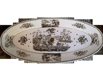 Antique French Large Fish Platter with Strainer, 1800s, Ironstone, Brown & White Transferware, Opaque Anglaise, Vieillard and Co, Bordeaux