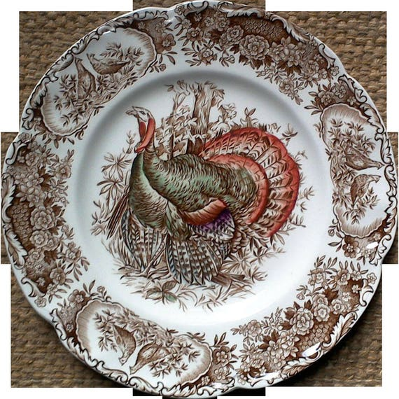Turkey Side Plate, China, Dishes, Johnson Brothers Wild Turkey, Windsor Ware, Native American, Thanksgiving