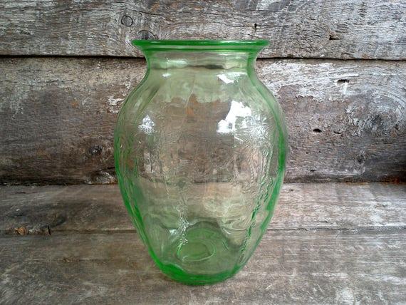 Large Vintage Green Depression Glass Vase, Cameo Design, Vase by Anchor Hocking, Home Decor, Depression Glass, Embossed Flowers