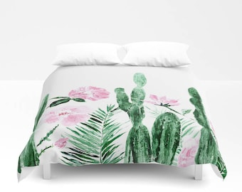 cactus duvet cover etsy. Black Bedroom Furniture Sets. Home Design Ideas