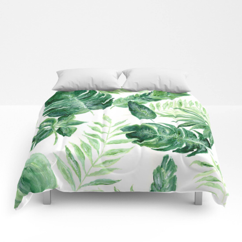 Tropical Leaf Comforter Green White Comforter Leaf Full