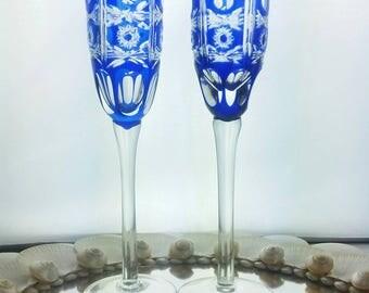 Hand Blown Cobalt Sapphire Blue Cut t Clear Crystal Wine Champagne Flute Glasses Pinwheel