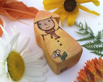 Yellow Gnome, Sunshine Daisies Butter Mellow, Turn This Stupid Fat Rat Yellow!Gnome, Wooden Waldorf doll, Wooden gnome, Wooden Waldorf Toy