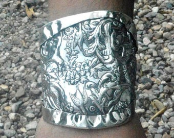 SALE 50% OFF Mens Gladiator Antique Art Nouveau Spartan Soiid Sterling Silver 925 Wide Cuff Bracelet Heavy XL Extra Large Medieval Armor Man
