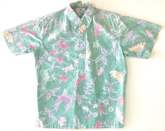 REYN SPOONER Green Flower Print Hawaiian Popover Shirt. Sz S. USA.