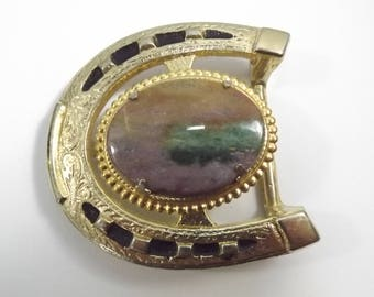 Vintage Lucky Horseshoe Belt Buckle Rock and Fronds in a Gold Tone Metal Western Style