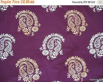 Flat 40% Off Paisley Block Printed Indian Cotton Fabric in Purple Color by Yard