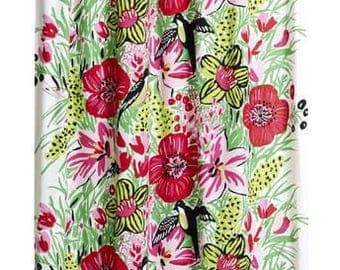 Curtain panel white red flowers green leaves black birds Modern Decor Cafe curtain Kitchen valance , runner , napkins available, great GIFT