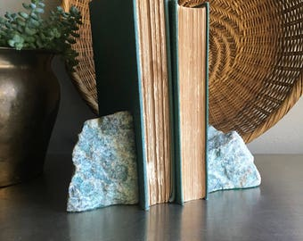vintage green and teal rough marble bookends granite agate pair