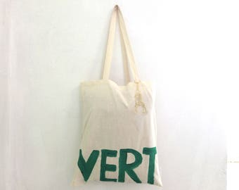 READY to Ship VERT with charm TOTE Shopper Cotton Eco Unisex Handheld Bag / Eve Damon