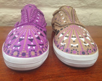 Handpainted Shoes - Upcycled Shoes - Women's Size 6.5 - Painted Sneakers - Slip Ons- Colorful
