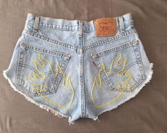 Levi's Cut Offs with Hand Embroidered Yellow Flames