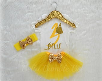 Baby Girl Third Birthday Bodysuit, Disney Beauty and the beast Inspired Theme, Three  Yellow Glitter, Gold Headband Tutu outfit gold bow 337