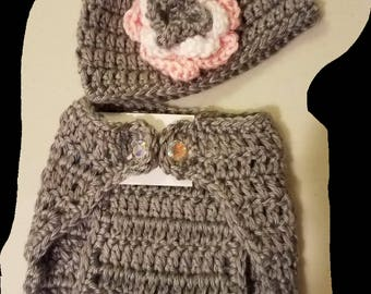 Gray and Pink Diaper Cover and Hat With Flower