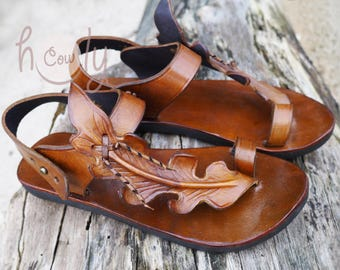 Handmade Leaf Sandals, Brown Leather Sandals, Womens Boho Sandals, Mens Leather Sandals, Leather Sandals Women, Womens Shoes, Hippie Sandals