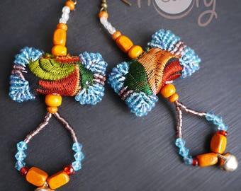 Handmade Large Tribal Boho Chic Hippie Earrings, Tribal Earrings, Hippie Earrings, Boho Earrings, Colorful Earrings, Gypsy Earrings, Hippie