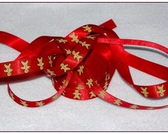 Red satin ribbon 1 metre gingerbread man Christmas