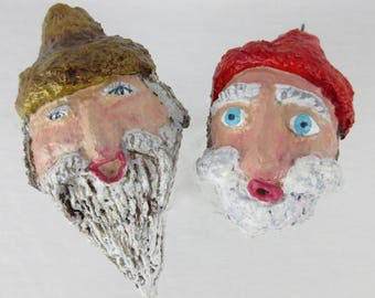 Vintage Christmas Folk Art / Spirit Faces, Heads / Santa Claus and Moonshiner / Paper Clay / Primitive / Hand Painted / Christmas Ornaments