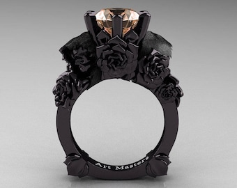 Love and Sorrow 5K Black Gold 3.0 Ct Morganite Skull and Rose Solitaire Engagement Ring R713-5KBGMO