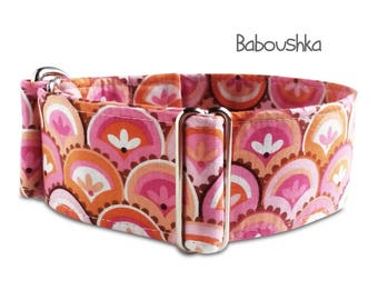 "pink dog collar ""Baboushka"", pink orange, girl dog collar, martingale, buckle collar; adjustable, wide 1""- 2"" wide; S- XXL, greyhound collar"