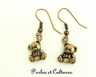 RETRO earrings bear Teddy bear bead BRONZE