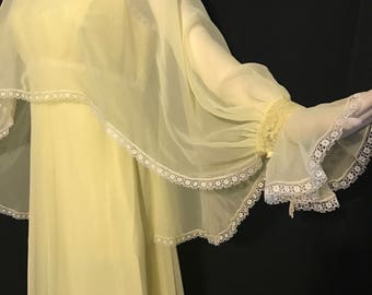 1970's Yellow Chiffon  Flowing Fantasy Fairytale Gown