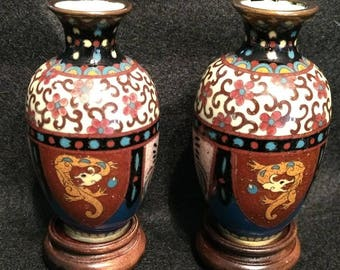 Stunning petite pair of ANTIQUE CLOISONNE VASES with wooden stands